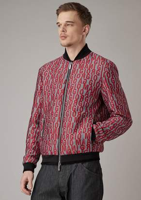 Giorgio Armani Chevron Jacquard Fabric Bomber Jacket With Lettering Embroidery