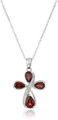 Sterling Silver Genuine Garnet and Diamond Accent Cross Pendant Necklace