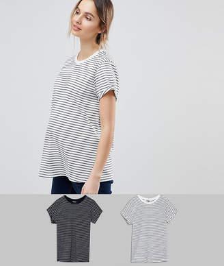 1b3976b0519 Asos DESIGN Maternity easy t-shirt in stripe 2 pack SAVE