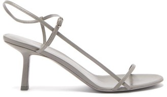 The Row Bare Mid Heel Leather Sandals - Womens - Grey