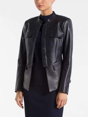 St. John Leather Mandarin Collar Jacket