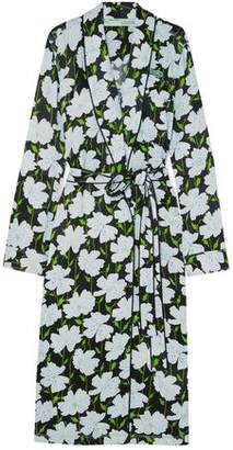 Off-Whitetm Appliquéd Floral-Print Satin Wrap Dress