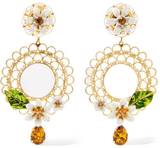 Dolce & Gabbana - Gold-tone, Swarovski Crystal And Enamel Clip Earrings - one size $745 thestylecure.com