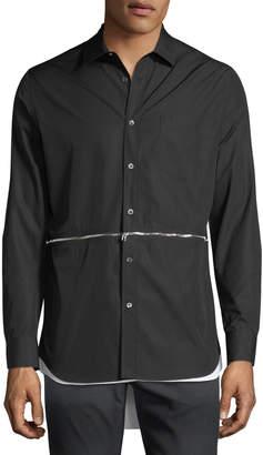 Alexander McQueen Men's Zip-Detail High-Low Sport Shirt