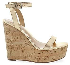 247a82fae925 Schutz Women s Eduarda Leather Cork Platform Wedges