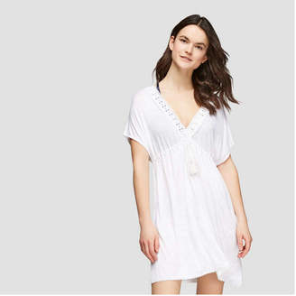 Joe Fresh Women's Eyelet Short Sleeve V-Neck Dress