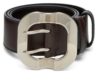 Miu Miu Leather Waist Belt - Womens - Dark Brown