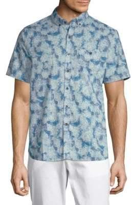 Michael Bastian Printed Short-Sleeve Cotton Button-Down Shirt