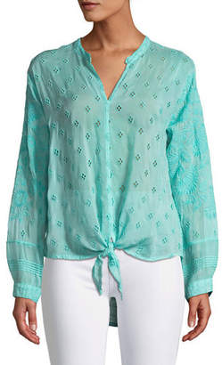 Johnny Was Plus Size Hunter Long-Sleeve Tie-Front Sheer Georgette Blouse