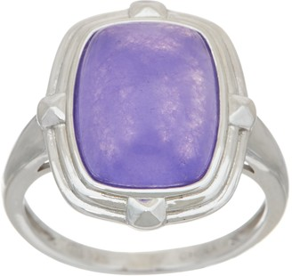 Elongated Cushion Jade Sterling Silver Ring