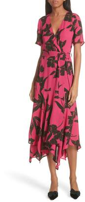 A.L.C. Cora Print Silk Midi Wrap Dress