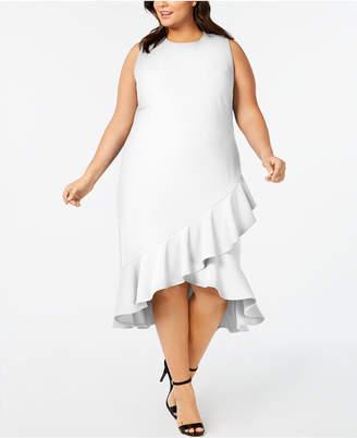 74ac3bb830ad Calvin Klein Plus Size Ruffled High-Low Midi Dress
