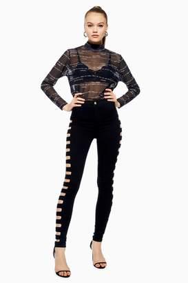 Topshop Womens Black Cut Out Joni Jeans - Black