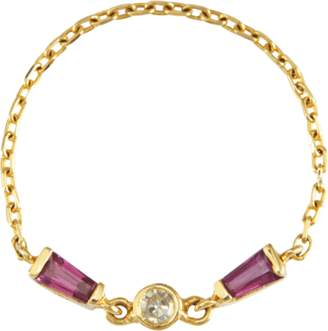 Yi Collection Ruby and Diamond Bow Tie Chain Ring