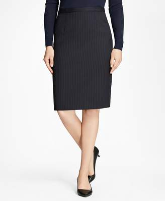 Brooks Brothers Petite Pinstripe Stretch-Wool Pencil Skirt