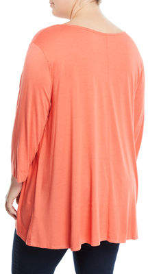 Three Dots Wide-Sleeve V-Neck Tee, Plus Size