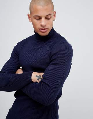 9f177285638c88 Asos Design DESIGN muscle fit ribbed roll neck jumper in navy