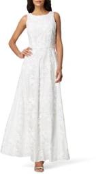 Tahari Sleeveless Embroidered Mesh Gown
