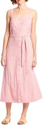 Michael Stars Raina Stripe Button Front Midi Dress