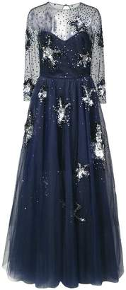 Oscar de la Renta sheer sleeve starfish embroidered gown
