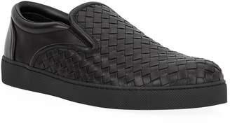 Bottega Veneta Woven Leather Slip-On Sneakers