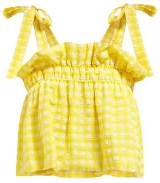 Ganni Mahogany Ruffled Gingham Cropped Top - Womens - Yellow