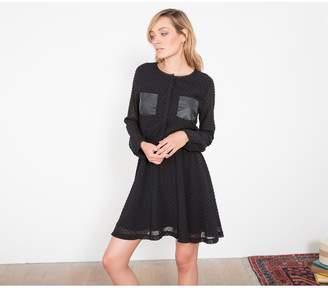 Le Temps Des Cerises Tulle Polka Dot Dress with Pockets