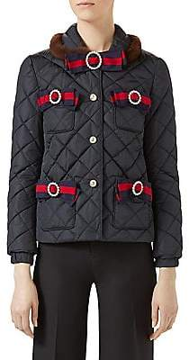 Gucci Women's Mink Fur-Trimmed Bow Quilted Jacket
