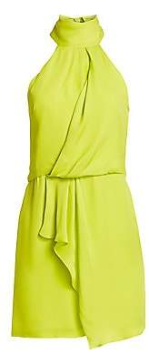 Halston Women's Mockneck Sleeveless Draped Short Dress