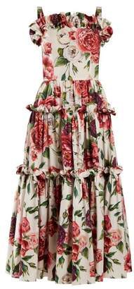 Dolce & Gabbana Peony And Rose Print Cotton Poplin Dress - Womens - White Multi