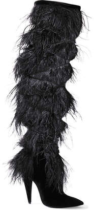 Saint Laurent Yeti Feather-trimmed Suede Over-the-knee Boots - Black