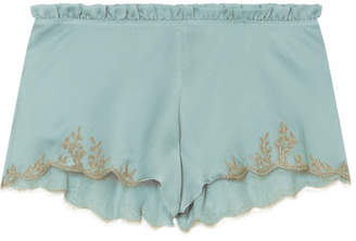 Carine Gilson Flottant Chantilly Lace-trimmed Silk-satin Shorts - Sky blue