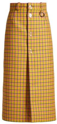 Balenciaga Checked Button Front Pencil Skirt - Womens - Yellow Multi