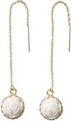 Poporcelain Porcelain Rose Charm Drop Earrings