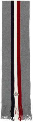 Moncler Grey Flag Stripes Wool Scarf
