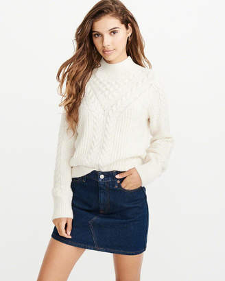 Abercrombie & Fitch Cable Mock Neck Sweater