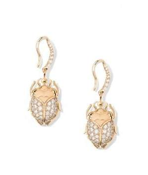 Aurelie Bidermann Beetle 18K Yellow Gold& Diamond Earrings