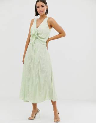Asos Design DESIGN knot front pleated maxi dress