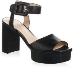 Stuart Weitzman Ankle Strap Patent Leather Platform Sandals