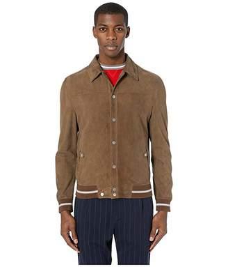 Eleventy Shirt Collar Suede Bomber Jacket