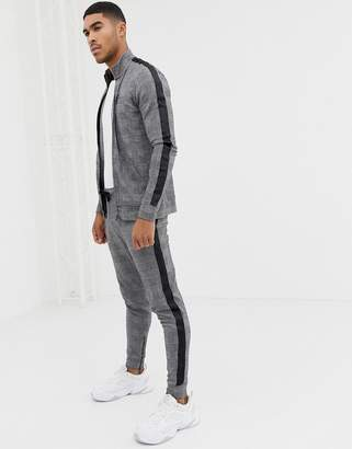 Gym King skinny sweatpants in check with side stripes
