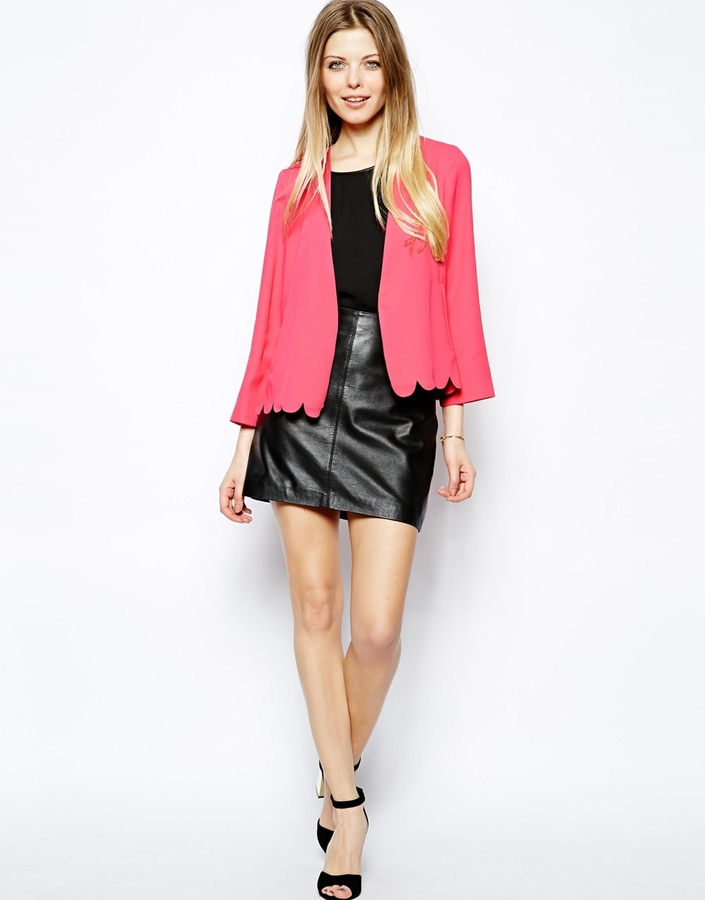 Asos Blazer With Scallop Hem