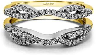 TwoBirch Brilliant Moissanite Mounted in Sterling Silver Infinity Criss Cross Designed Ring Guard Enhancer (0.22ctw)