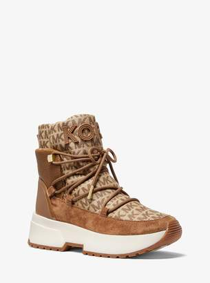 MICHAEL Michael Kors Cassia Logo Jacquard and Suede Boot