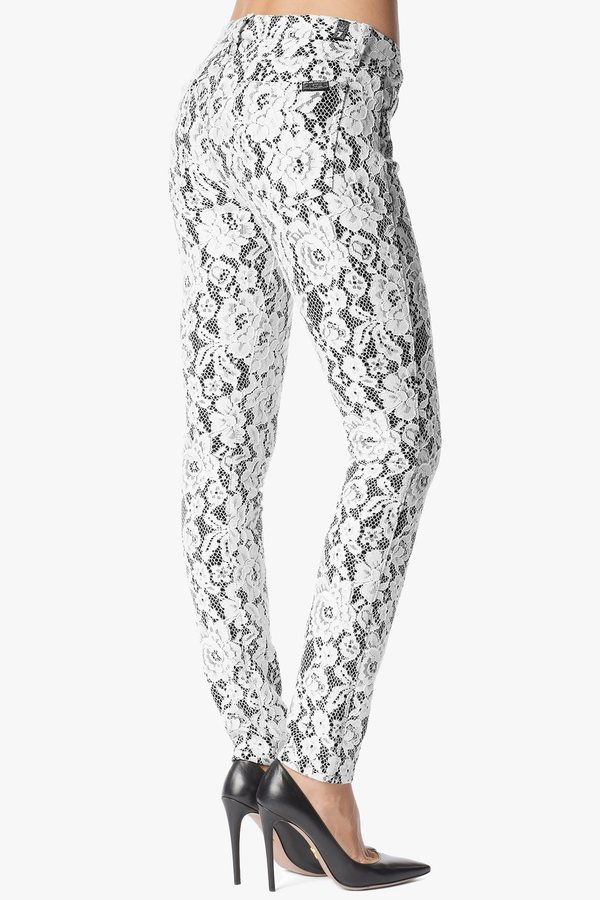 7 For All Mankind Mid Rise Skinny In White Lace On Black