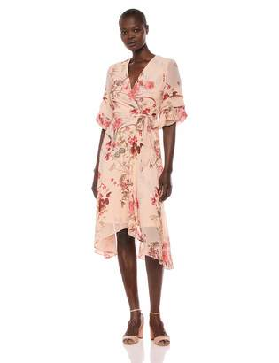 Gabby Skye Women's Elbow Sleeve V-Neck Midi A-Line Dress