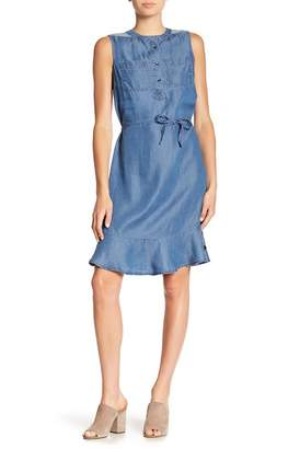 Joe Fresh Chambray Flounce Hem Dress