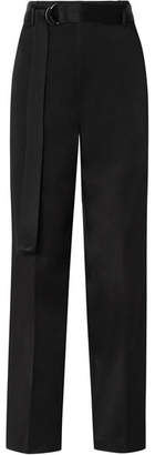 Joseph Belted Satin Wide-leg Pants - Black