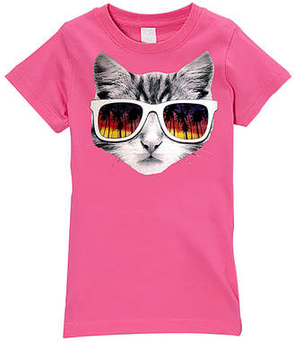 Micro Me Hot Pink Sunglasses Kitty Fitted Tee - Girls