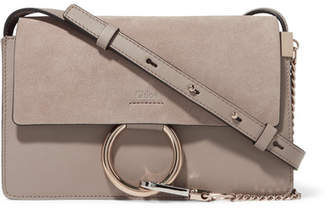 Chloé Faye Small Leather And Suede Shoulder Bag - Gray